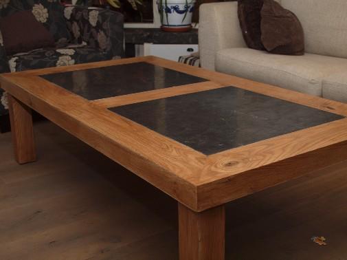 Eikenhouten salontafel met hardstenen inleg bouwbedrijf s schotvanger - Salontafel naar de slaapkamer ...